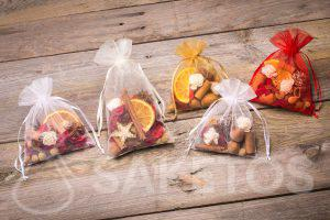 An idea for a Christmas gift - organza pouches with aromatic dried content