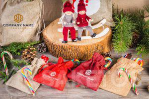Christmas bags with a company logo