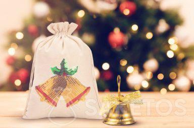 Christmas bag with a sequin appliqué
