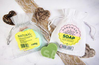 A bag with a logo as packaging for handmade soaps